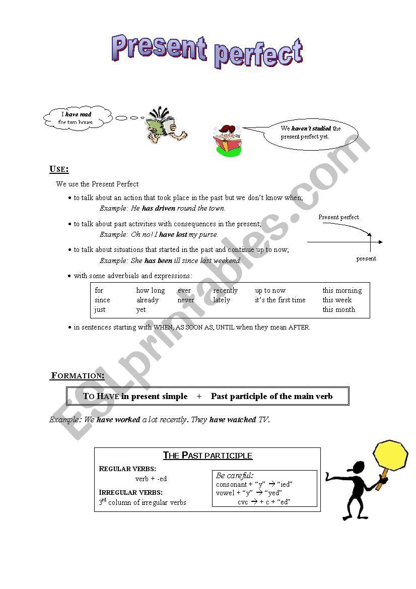 Present perfect: presentation worksheet