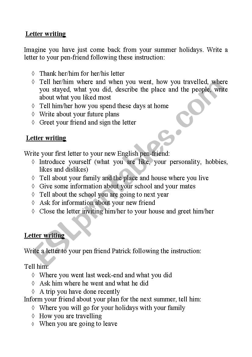 Letter writing - ESL worksheet by cristina maltinti