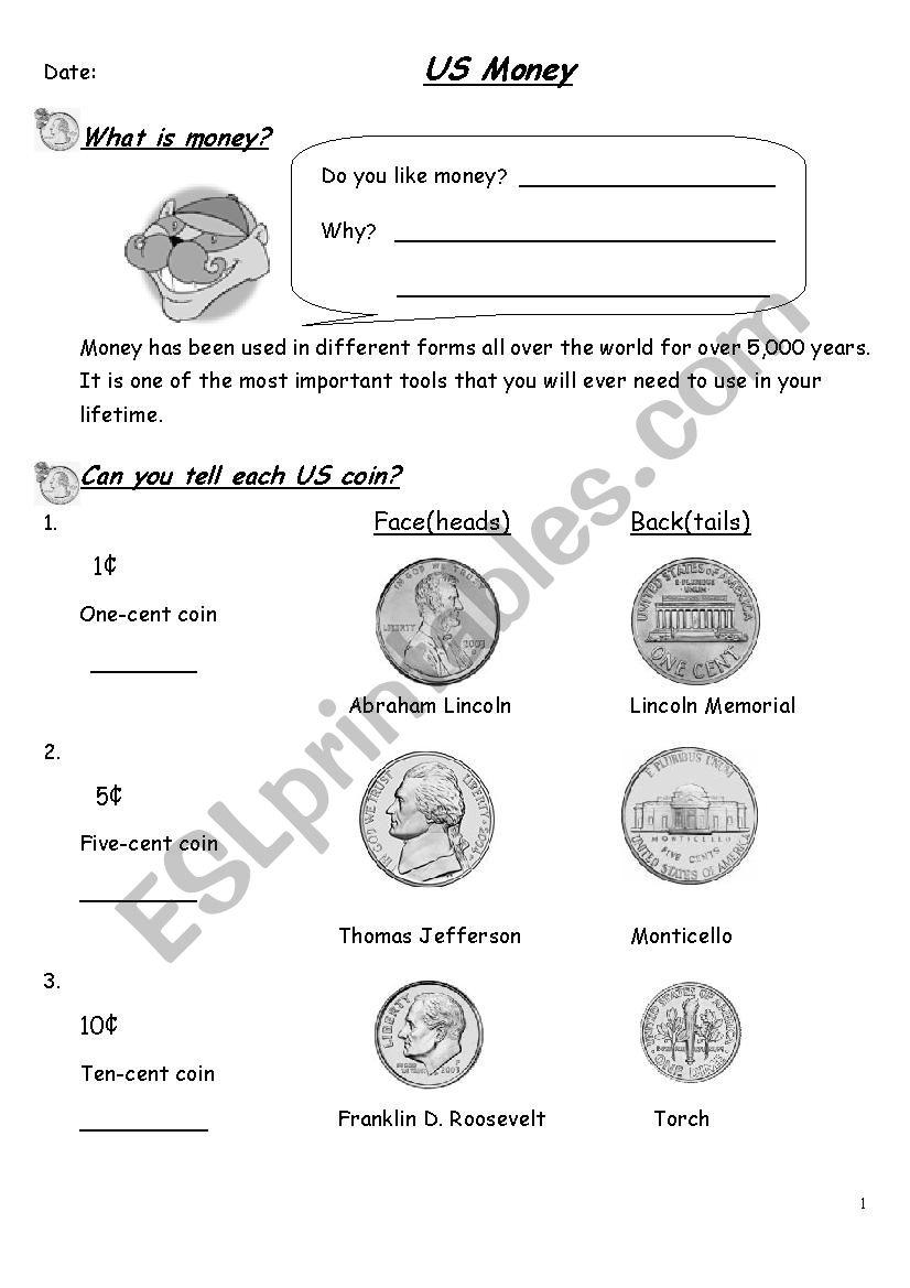 currency teaching worksheet