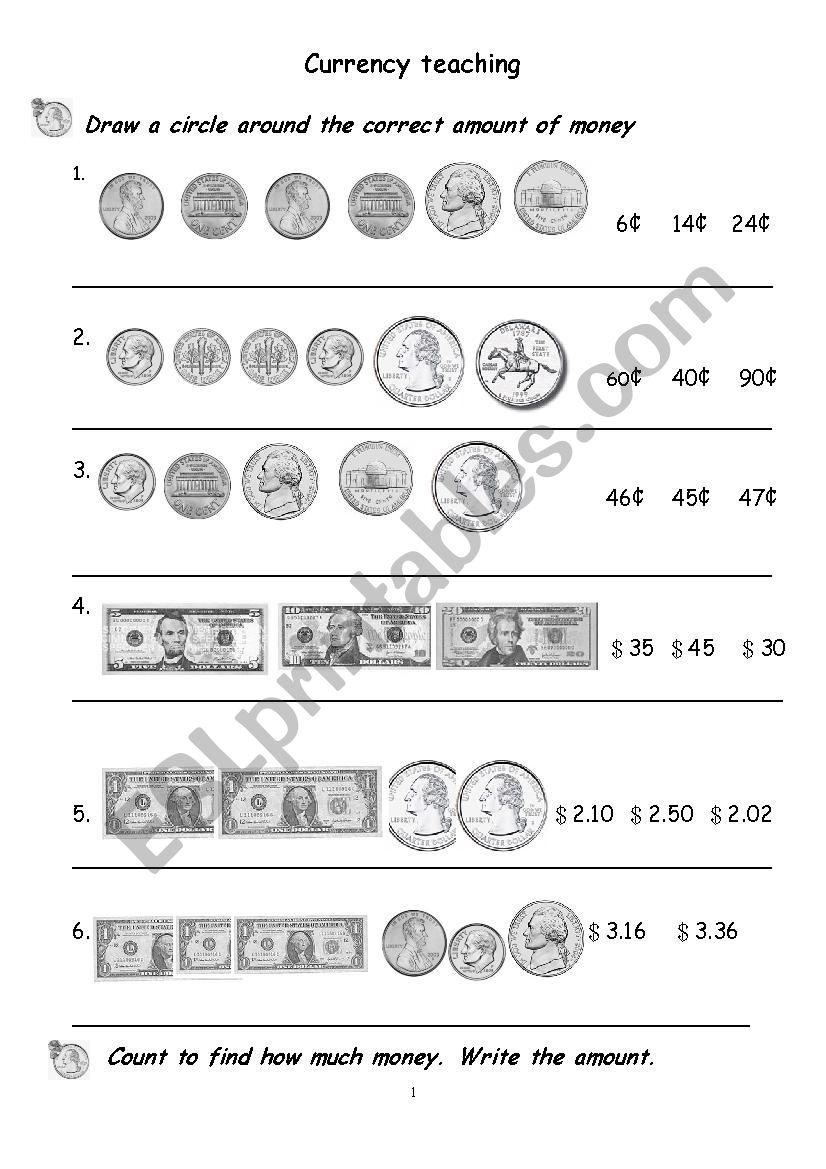 currency teaching excises worksheet