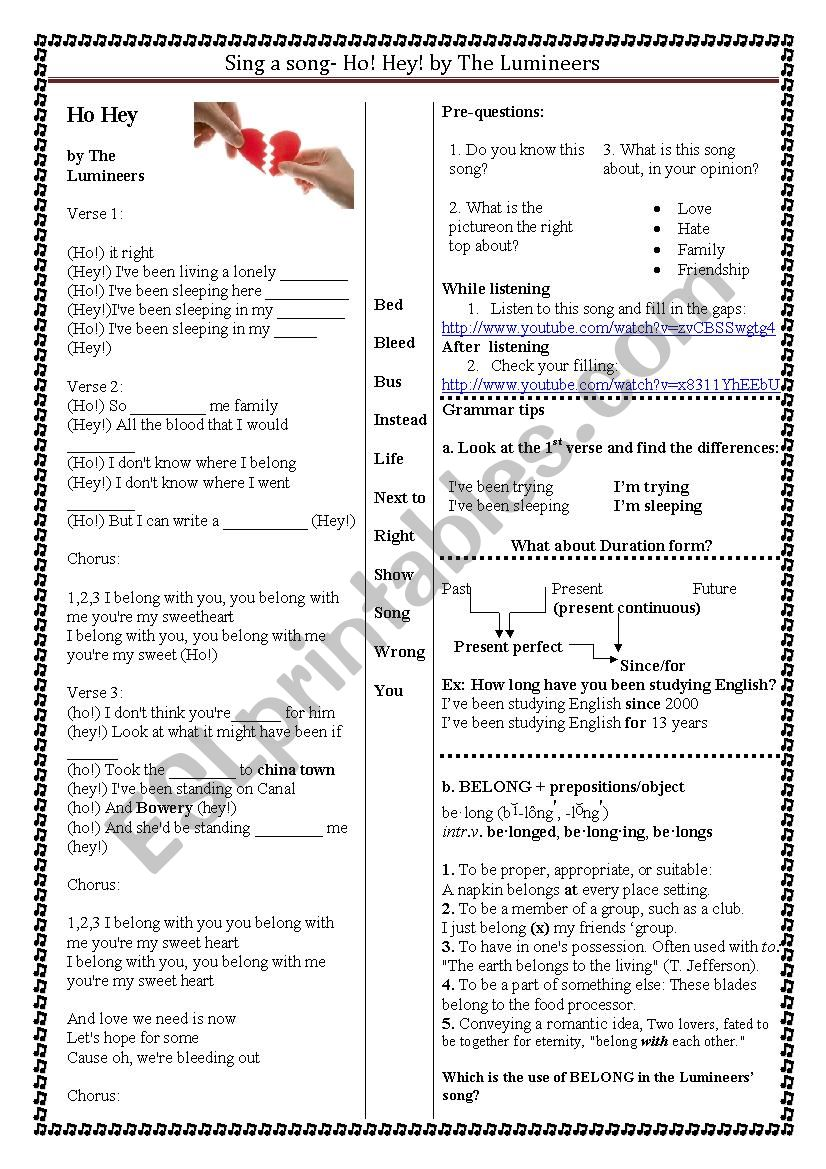 sing a song- duration form worksheet