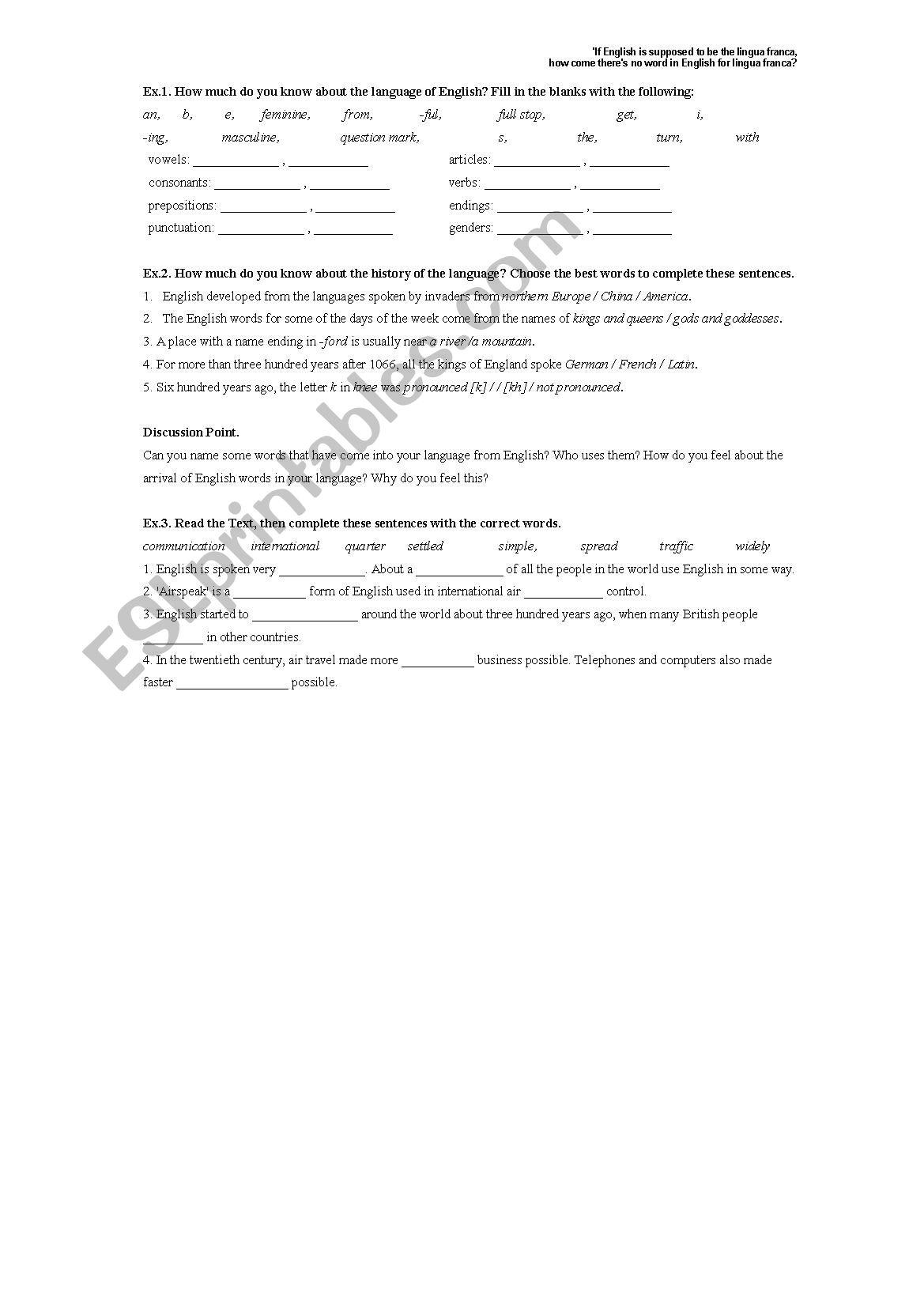 A world language worksheet
