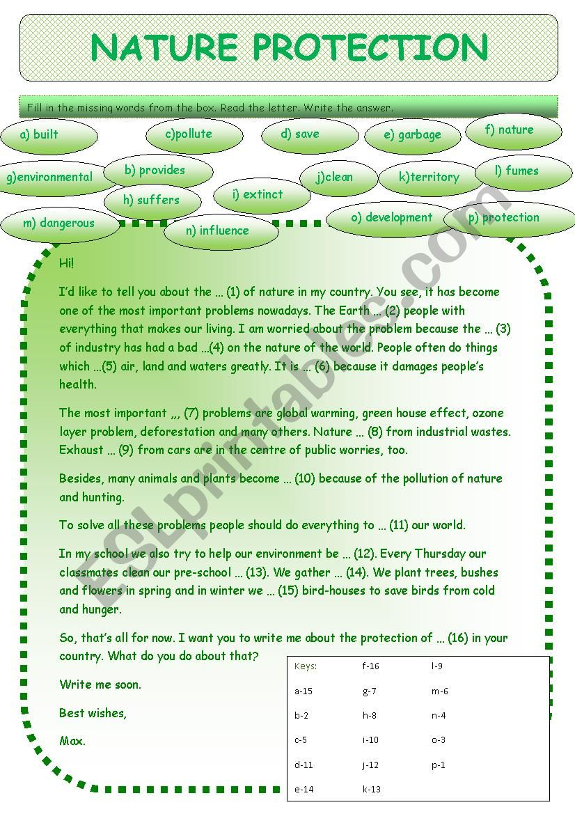Nature protection worksheet