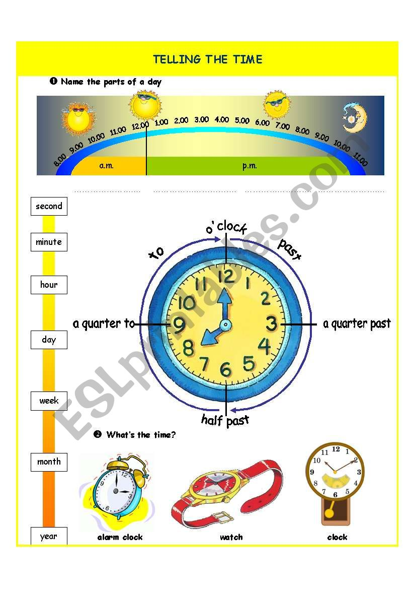 Telling the time - introduction - part I