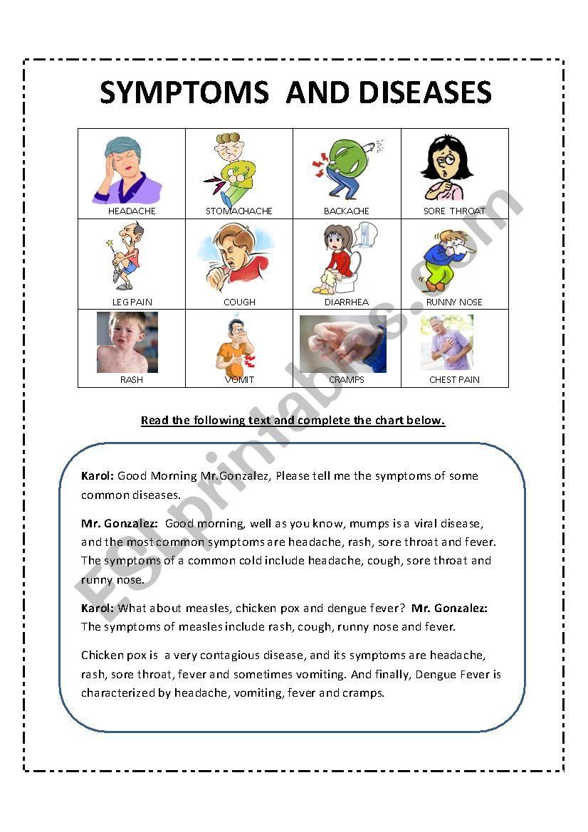 Diseases and symptoms worksheet