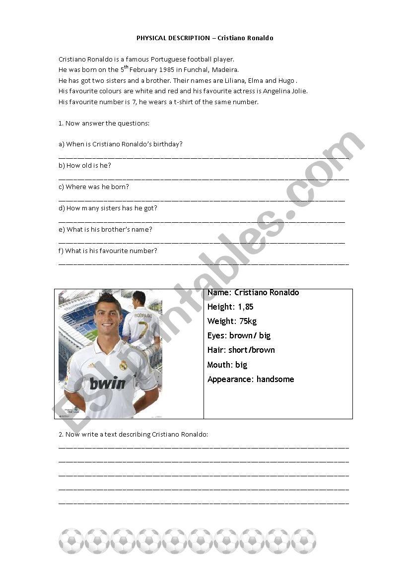 Cristiano Ronaldo worksheet