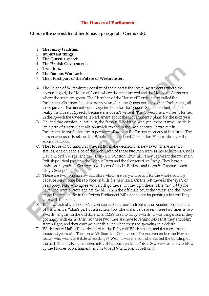 the Houses of Parliament worksheet