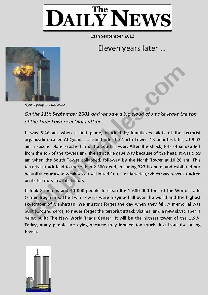 Artcile September 11th - read and answer