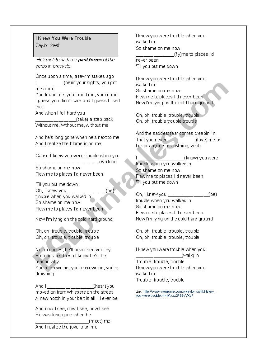 Song Taylor Swift Simple Past Esl Worksheet By Eveab