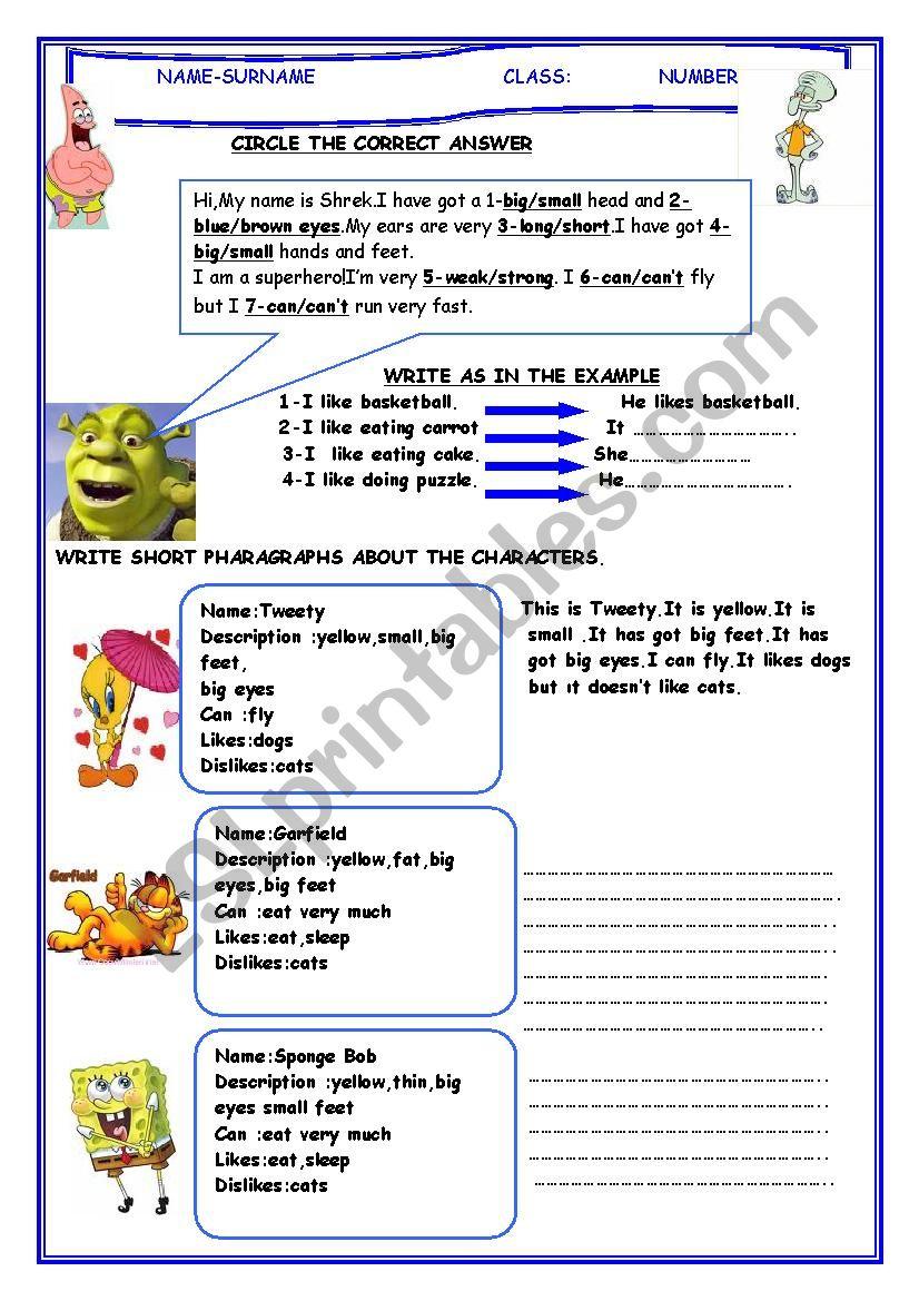 describing cartoon characters worksheet