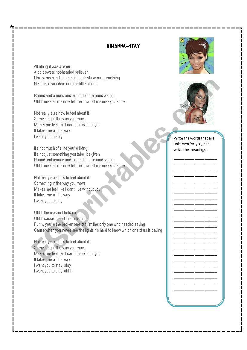 SONG RIHANNA STAY worksheet