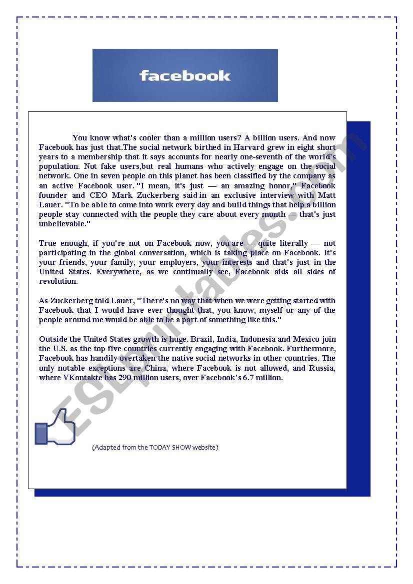 FACEBOOK worksheet