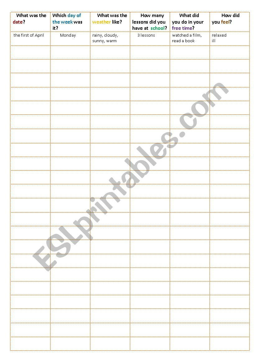 Day Chart and Past Simple worksheet