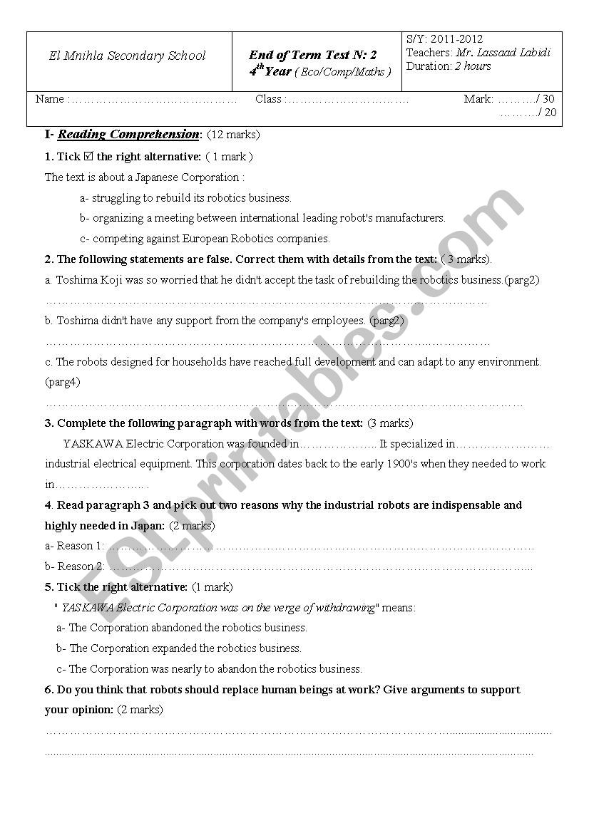 4th level End of Term Test worksheet