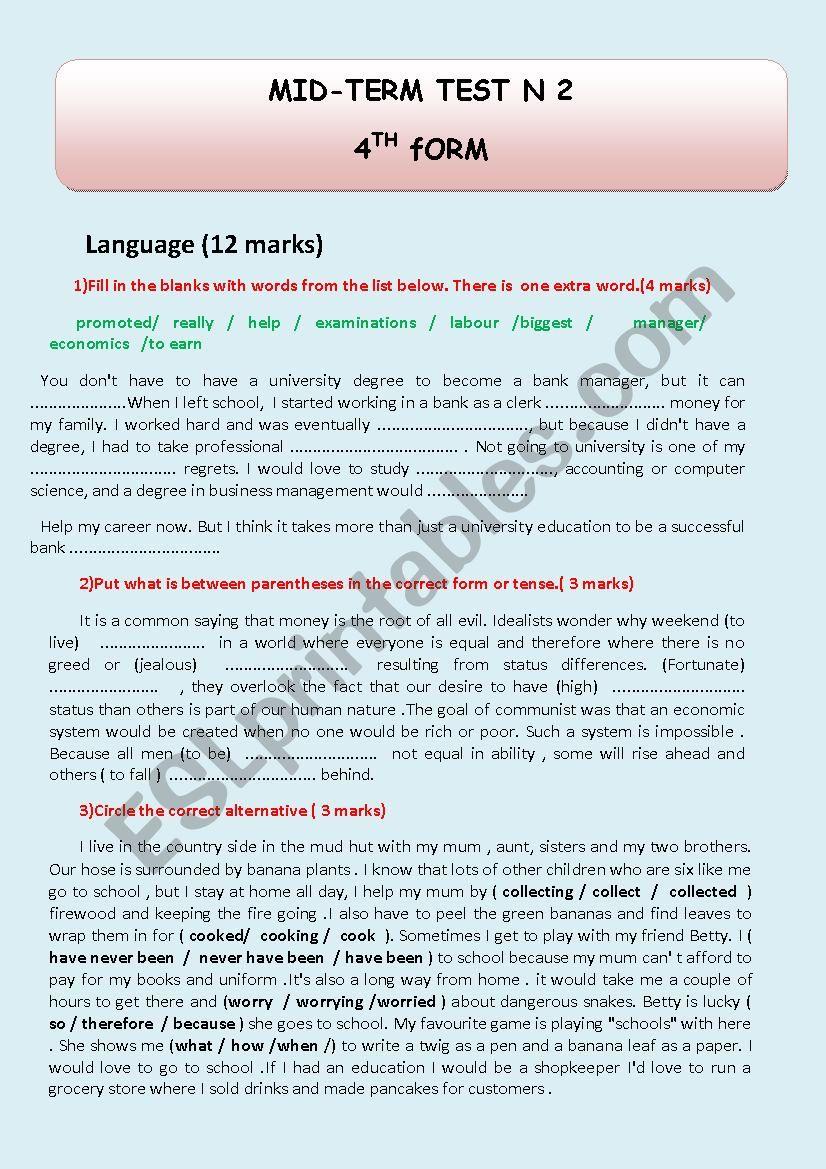 BAC TEST worksheet