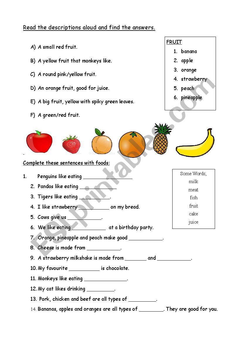 Describing Food worksheet
