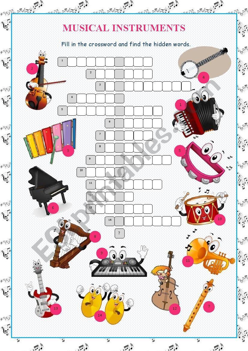 Musical Instruments Crossword Puzzle