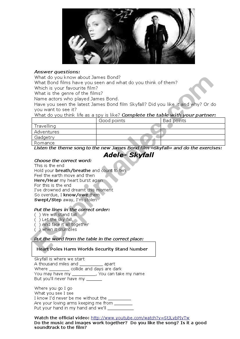 Adele-skyfall - ESL worksheet by satin
