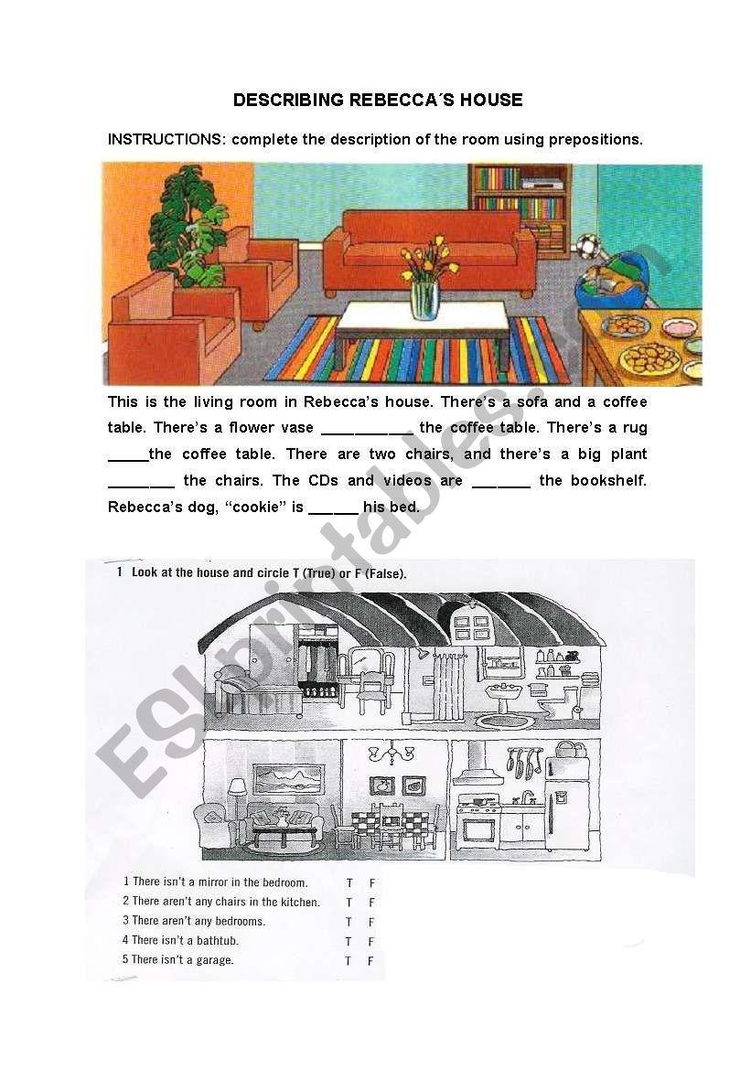 DESCRIBING REBECCA´S HOUSE worksheet