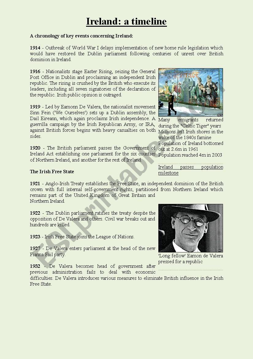 A Timeline - Ireland events worksheet