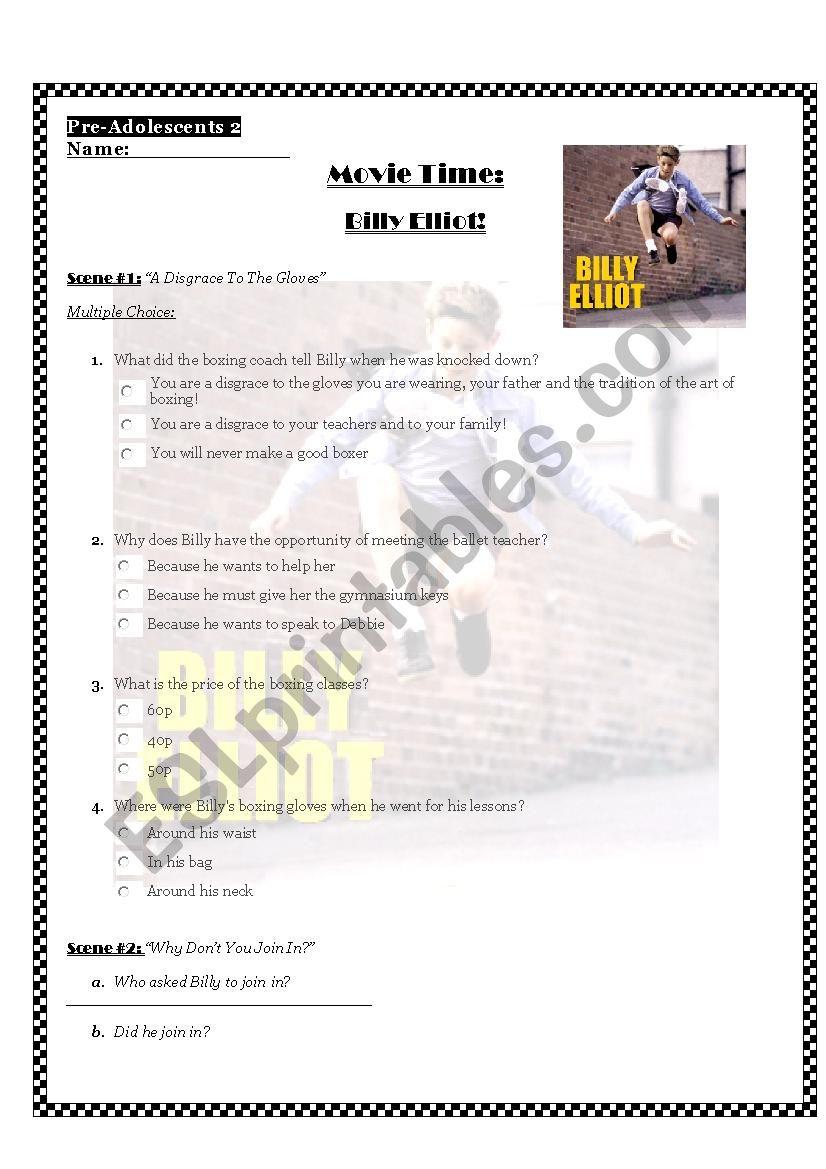 Billy Elliot Movie worksheet worksheet