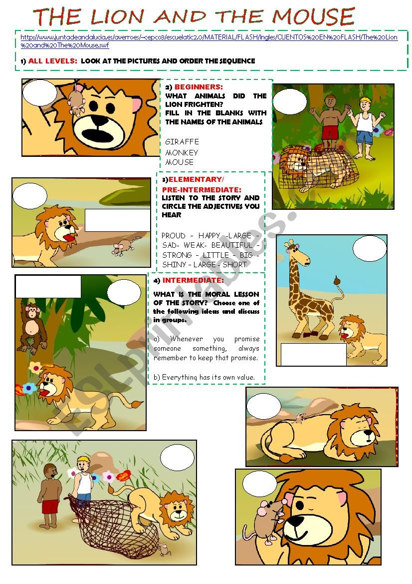 photograph relating to The Lion and the Mouse Story Printable identify The lion and the mouse (fresh new model and entirely editable