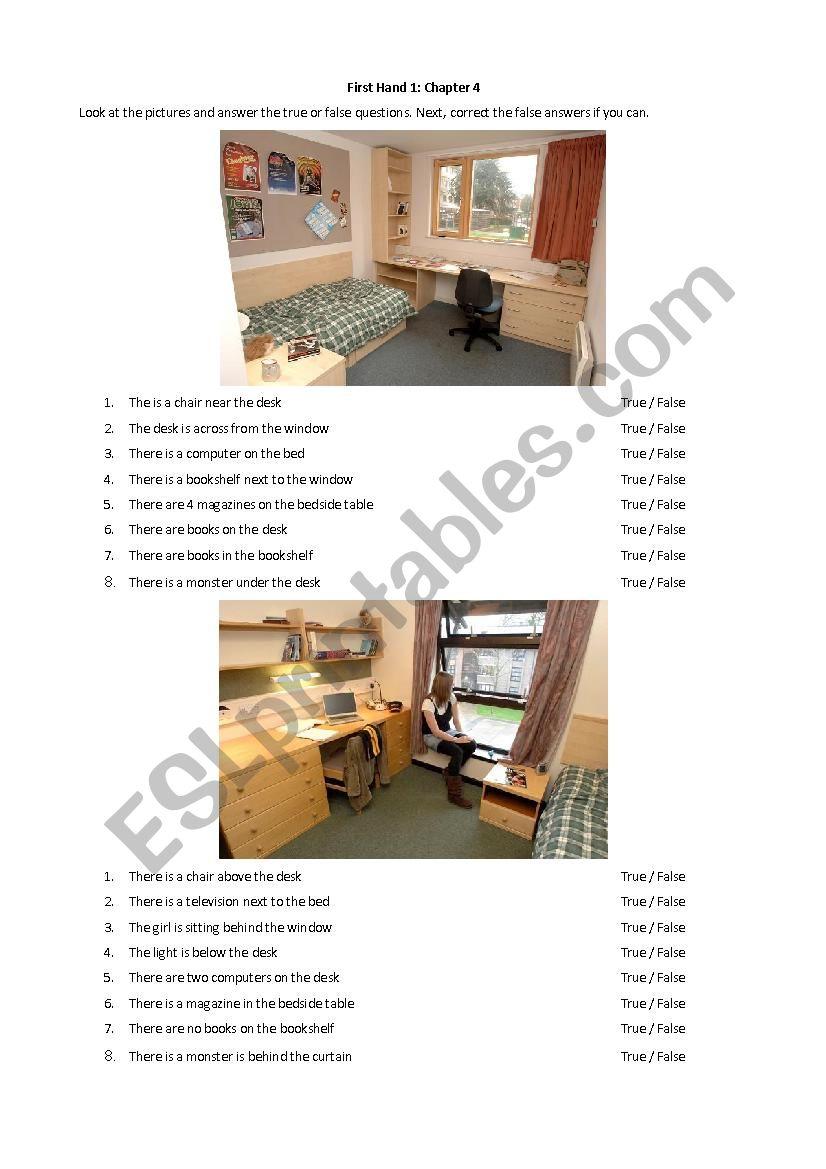 Room Prepositions, True or False
