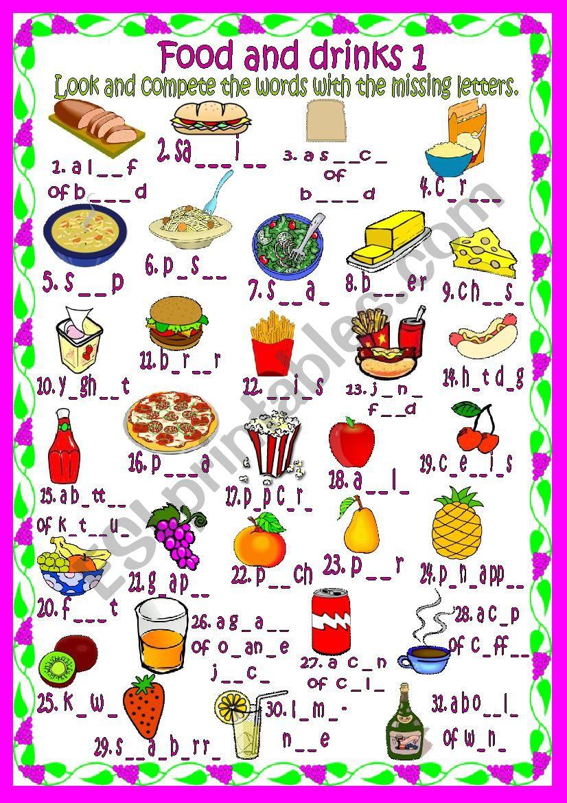Food and drinks 1 worksheet