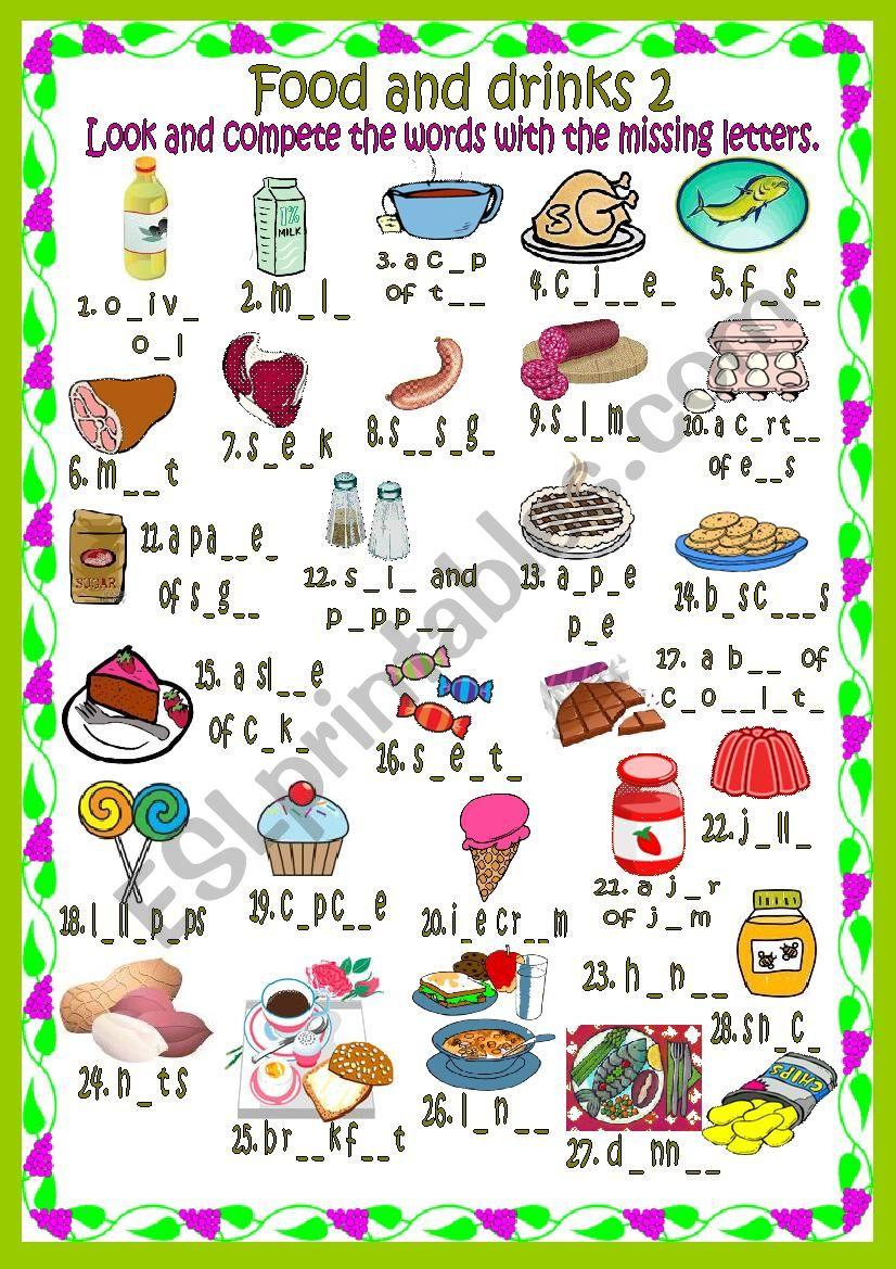 Food and drinks 2 worksheet