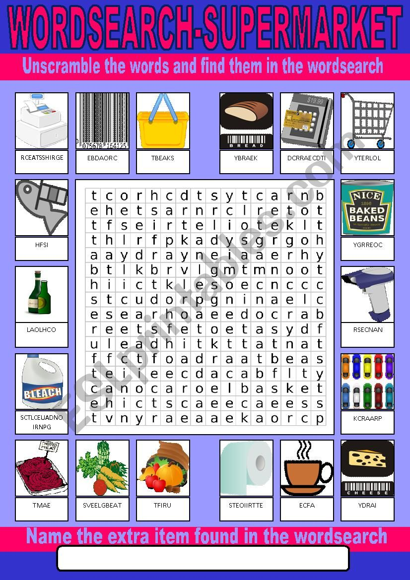 Supermarket Wordsearch worksheet