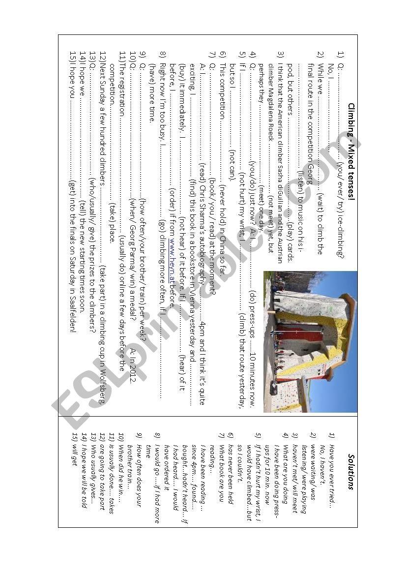 Mixed tense: climbing worksheet