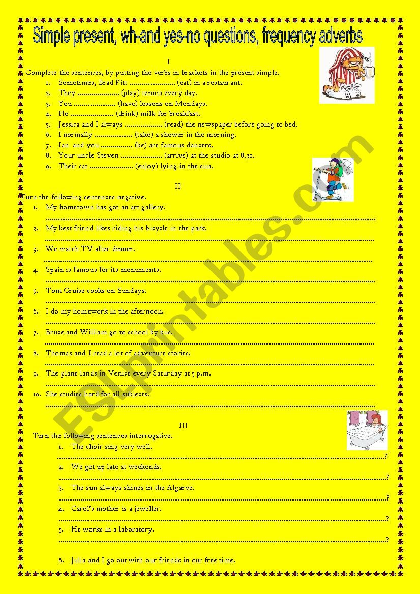 Worksheet about the Present Simple, yes-no questions, wh-questions
