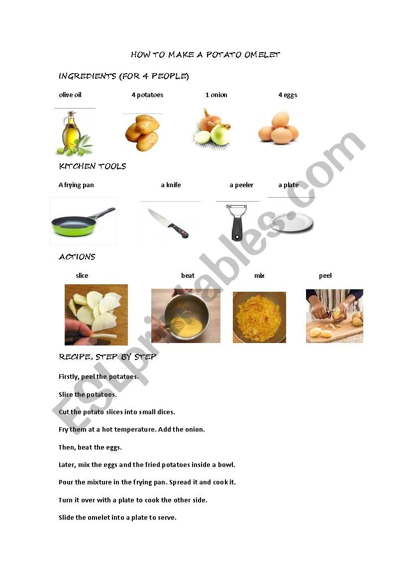 Worksheet Parts Of A Recipe : Recipes potato omelet esl worksheet by alxafira