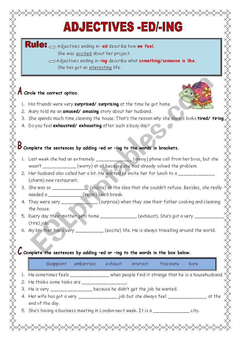 Adjectives -ed/-ing (key included) - ESL worksheet by