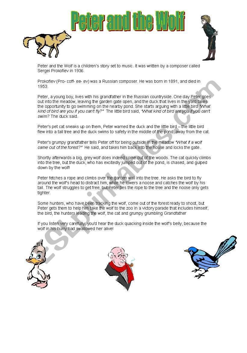 Peter And The Wolf Esl Worksheet By Jennymorton