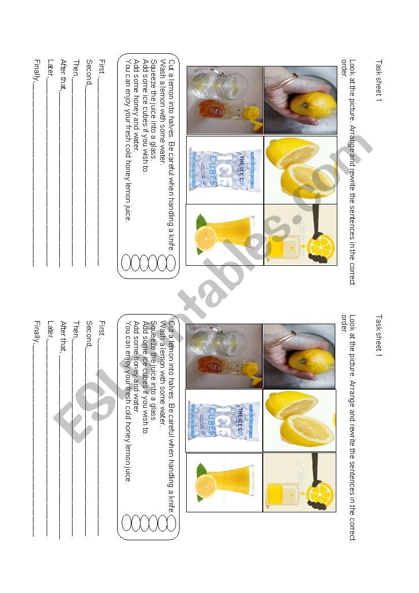 English worksheets: preparing food