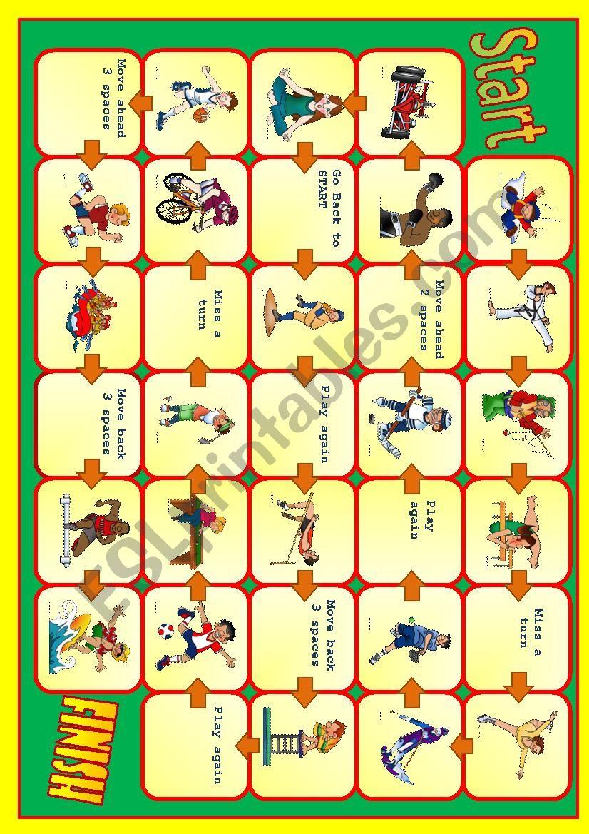 Sport board game worksheet