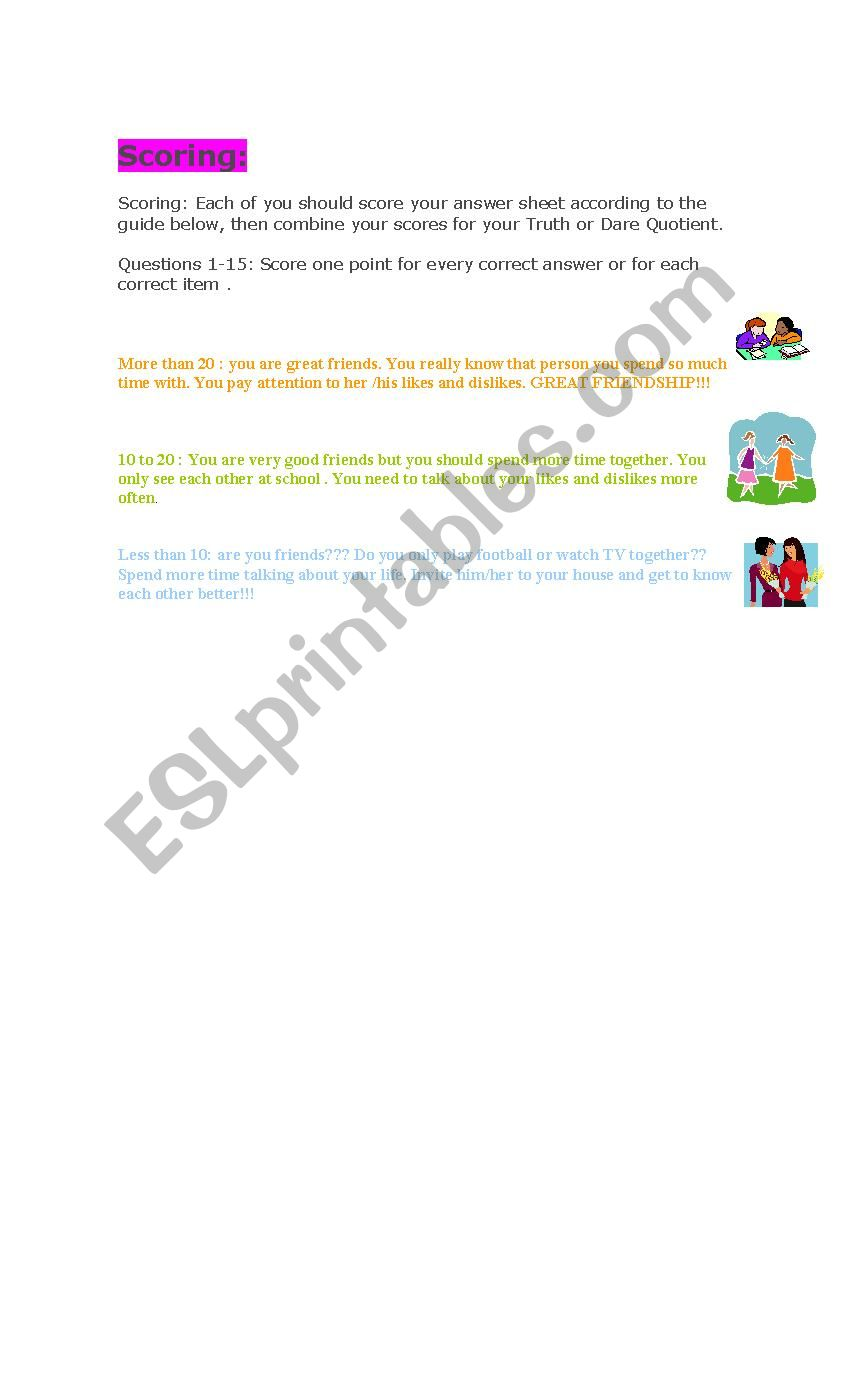 QUIZ to know HOW WELL YOU KNOW YOUR FRIENDS - ESL worksheet by lanana