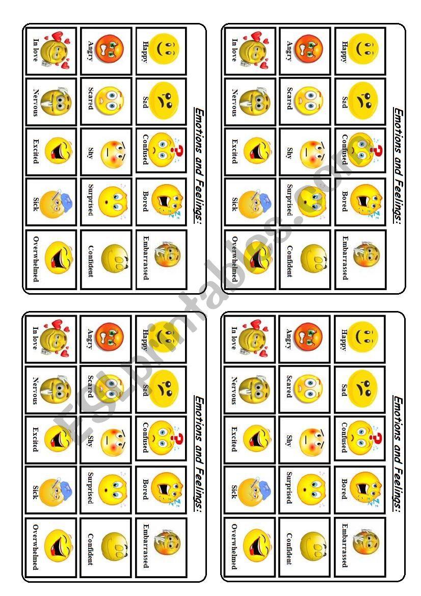 Emotions and feelings worksheet