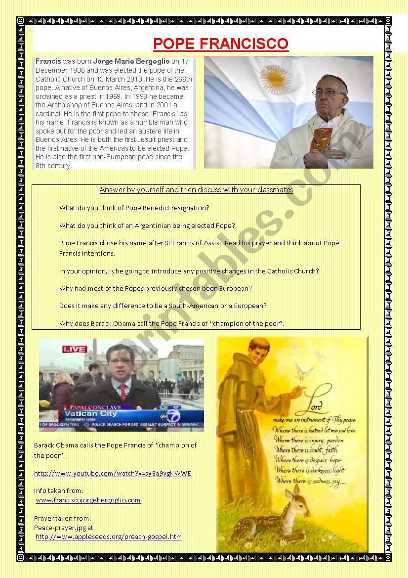Pope Francisco worksheet