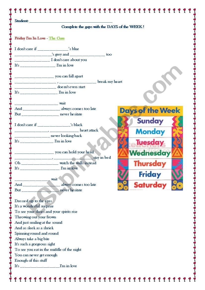Friday I´m in love - The cure worksheet