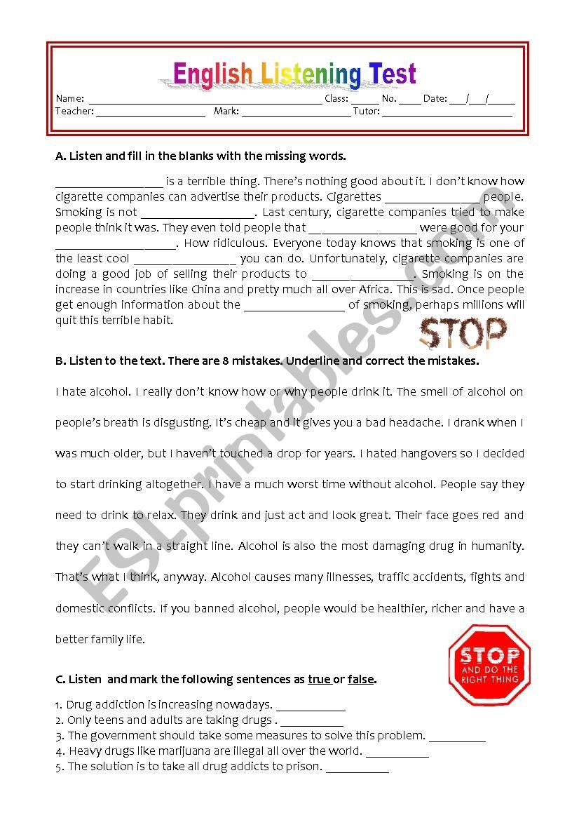 LISTENING TEST - ADDICTIONS worksheet