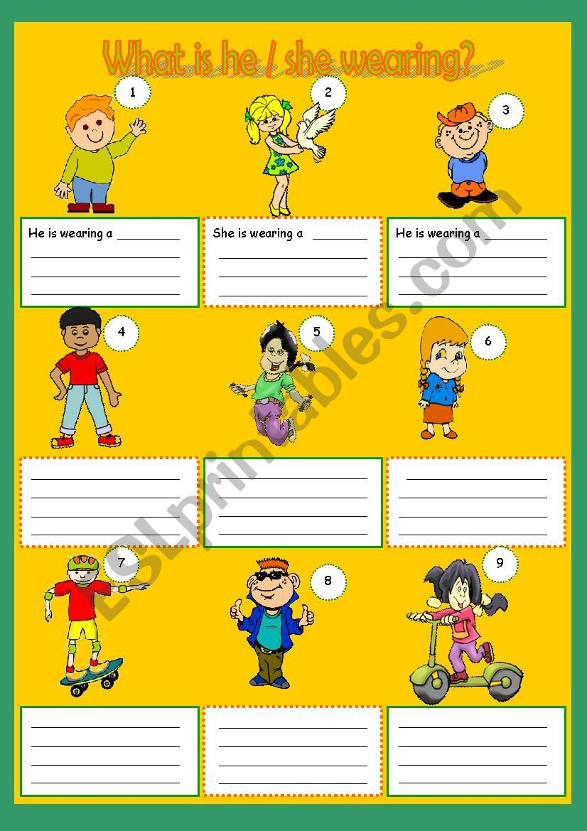 What is he / she wearing? worksheet