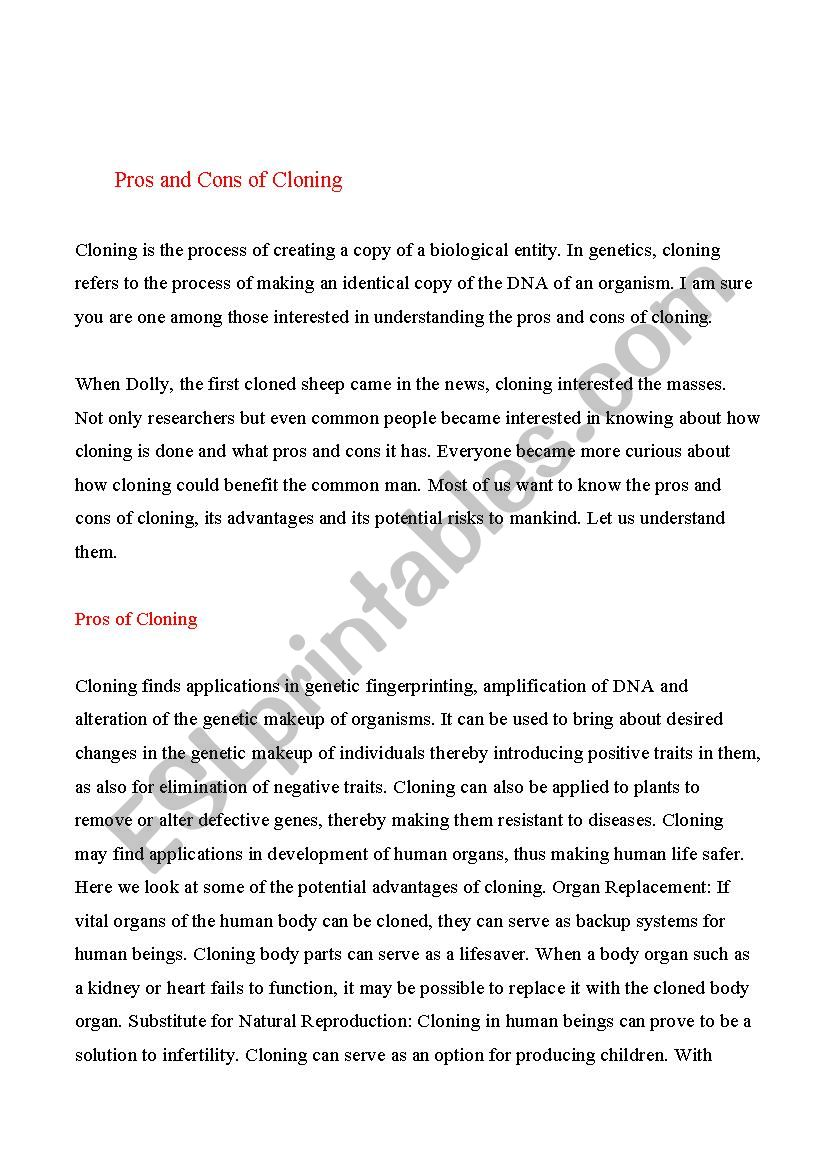 Pros and Cons of Cloning. worksheet