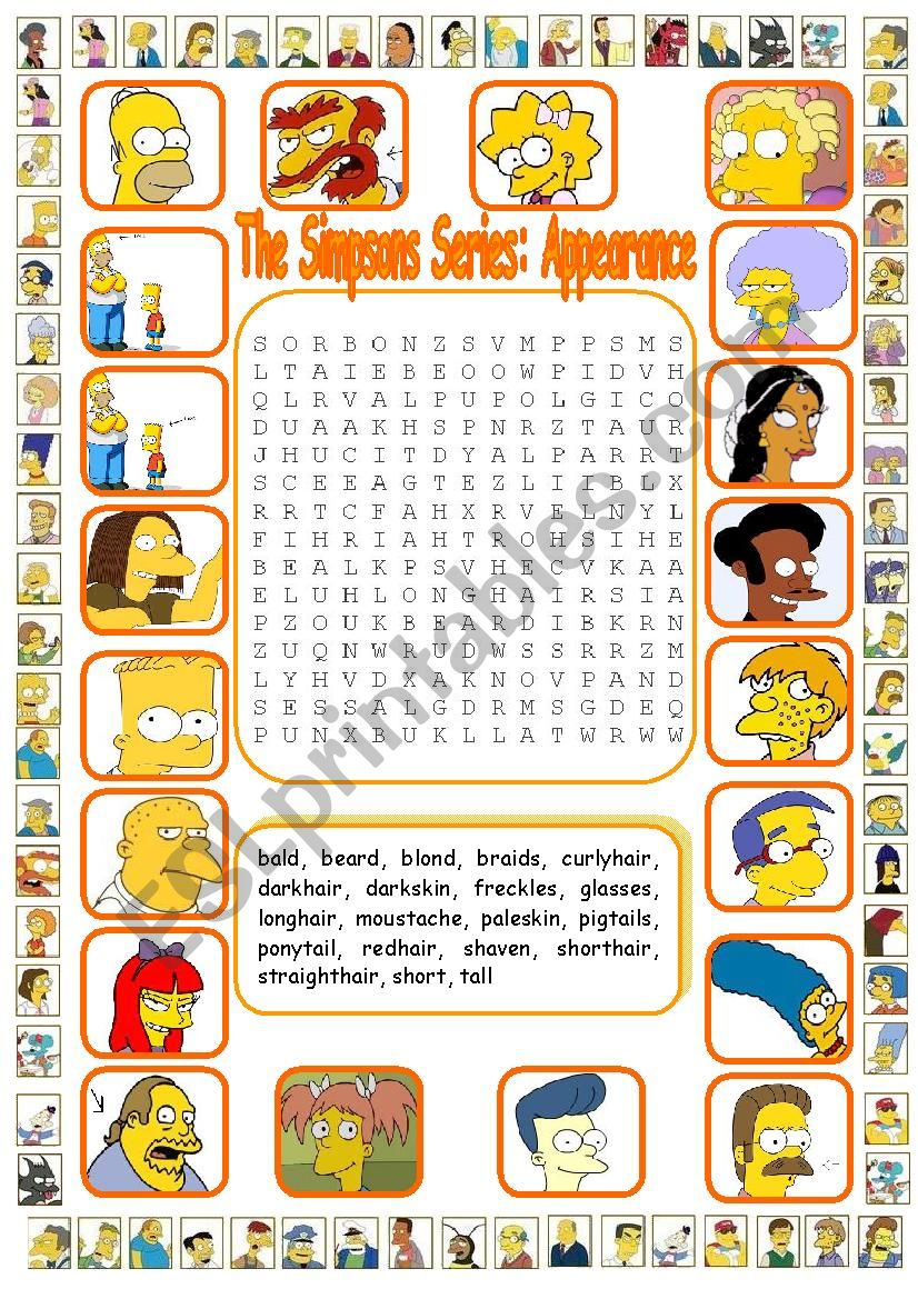 The Simpsons Series: Appearance WordSearch (Key included)