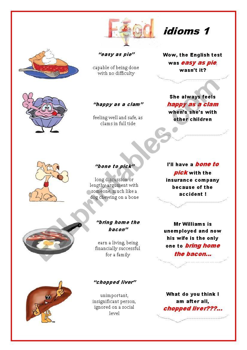 Food Idioms  1 worksheet