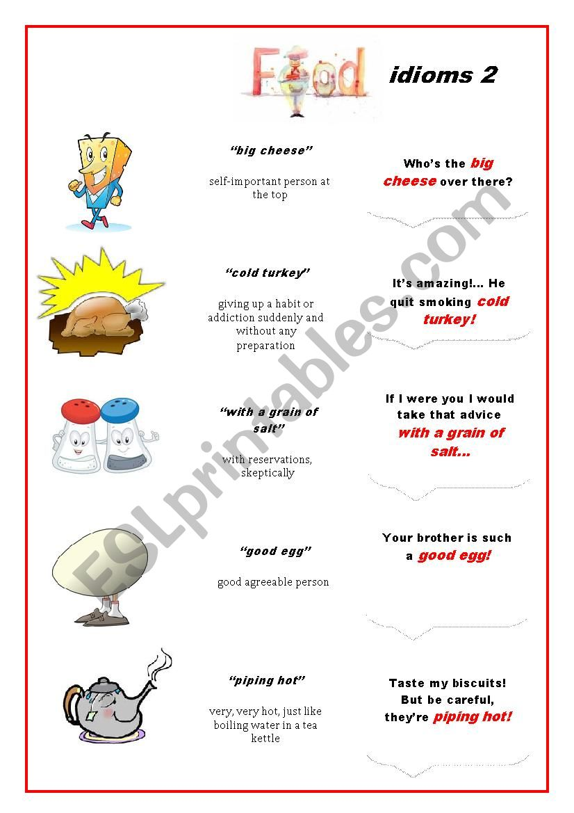 Food Idioms 2 worksheet