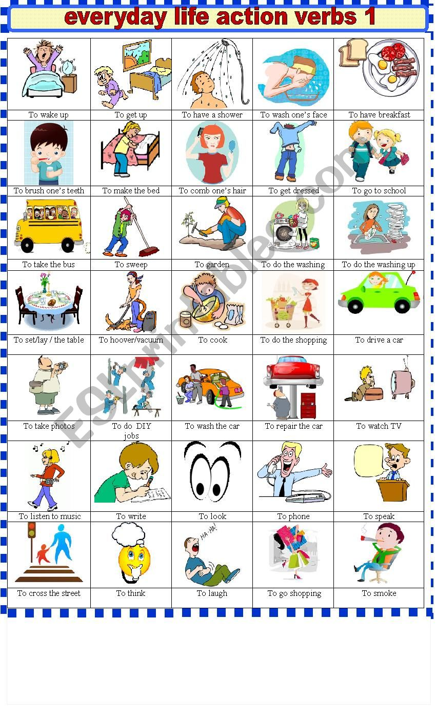 EVERYDAY  LIFE ACTION VERBS 1 worksheet