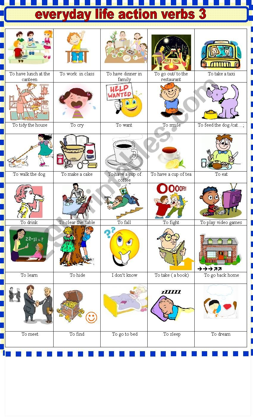 EVERYDAY  LIFE ACTION VERBS 3 worksheet