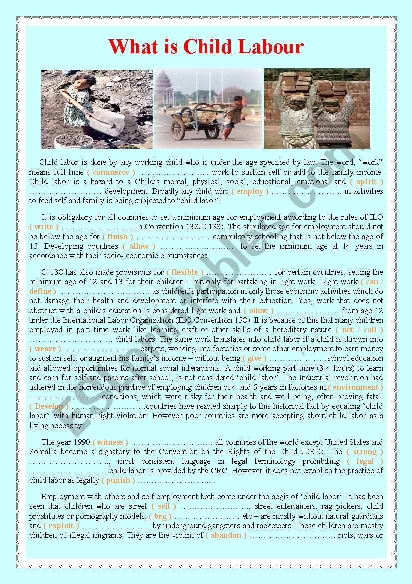 What is Child Labour worksheet